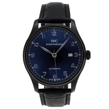 Replique IWC Portugaise Automatique PVD affaire avec cadran noir-bracelet en cuir - Attractive montre IWC Portugaise pour vous 32332