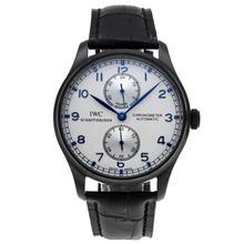Replique IWC Portugaise de travail Réserve de marche Automatique PVD affaire avec cadran blanc-bracelet en cuir - Attractive montre IWC Portugaise pour vous 32331