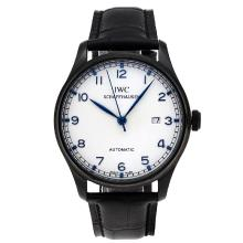 Replique IWC Portugaise Automatique PVD affaire avec cadran blanc-bracelet en cuir - Attractive montre IWC Portugaise pour vous 32327