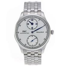 Replique IWC Regulateur remontage manuel avec Cadran Argent S / S-Bleu Marqueurs - Attractive montre IWC Regulateur pour vous 32319