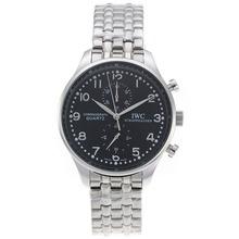 Replique IWC Portugaise Chronographe de travail avec cadran noir S / S - Attractive montre IWC Portugaise pour vous 32311