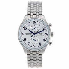 Replique IWC Portugaise Chronographe de travail avec cadran blanc S / S-Bleu Marqueurs - Attractive IWC Portugaise montre pour vous 32310