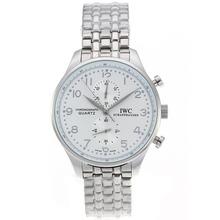 Replique IWC Portugaise Chronographe de travail avec cadran blanc S / S-Argent Marqueurs - Attractive IWC Portugaise montre pour vous 32309