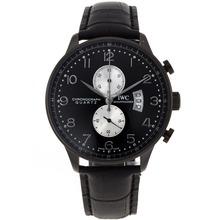 Replique IWC Portugaise Chronographe PVD affaire de travail avec cadran noir-bracelet en cuir - Attractive montre IWC Portugaise pour vous 32304