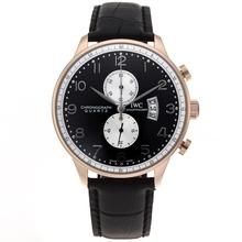 Replique IWC Portugaise Chronographe de travail boîtier en or rose avec cadran noir-bracelet en cuir - Attractive montre IWC Portugaise pour vous 32303