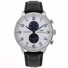 Replik IWC Portuguese Working Chronograph with White Dial-Leather Strap – Attractive IWC Portuguese Watch for You 32302