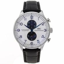 Replique IWC Portugaise Chronographe de travail avec cadran blanc-bracelet en cuir - Attractive montre IWC Portugaise pour vous 32302