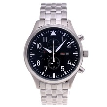 Replique IWC Pilot Chronograph Day-Date Travailler avec cadran noir S / S - Montre d'Aviateur IWC attrayant pour vous 32301