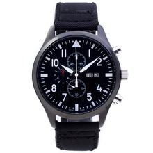 Replique Pilot IWC Chronographe PVD affaire de travail avec cadran noir-Nylon Strap - Attractive Montre d'Aviateur IWC pour vous 32300