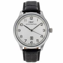 Replique Marqueurs IWC Pilot numéro avec cadran blanc-bracelet en cuir - Belle Montre IWC Pilot pour vous 32294