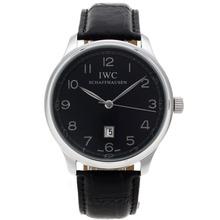 Replique Marqueurs IWC Pilot numéro avec cadran noir-bracelet en cuir - Belle Montre IWC Pilot pour vous 32293