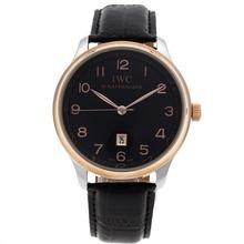 Replique IWC Pilot Tone Deux marqueurs de cas Nombre de Black Dial-bracelet en cuir - Belle Montre IWC Pilot pour vous 32292