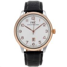 Replique IWC Pilot Tone Deux marqueurs de cas Nombre de cadran blanc-bracelet en cuir - Belle Montre IWC Pilot pour vous 32291