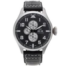 Replique IWC Big Pilot travail Chronographe avec cadran gris-bracelet en cuir - Attractive IWC Montre d'Aviateur pour vous 32289