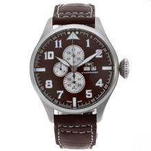 Replique Chronographe IWC Big Pilot Travailler avec cadran brun-bracelet en cuir - Attractive IWC Montre d'Aviateur pour vous 32288