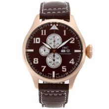 Replique IWC Big Pilot Chronographe de travail boîtier en or rose avec cadran brun-bracelet en cuir - Attractive IWC Montre d'Aviateur pour vous 32287