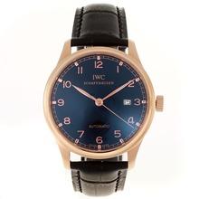 Replique IWC Portuguese Automatic Number Marqueurs boîtier en or rose avec cadran noir-bracelet en cuir - Attractive montre IWC Portugaise pour vous 32273