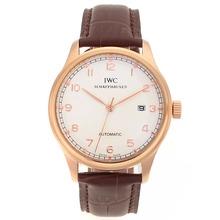 Replique IWC Portuguese Automatic Number Marqueurs boîtier en or rose avec cadran blanc-bracelet en cuir - Attractive montre IWC Portugaise pour vous 32272