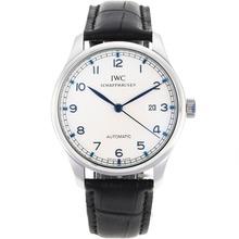 Replique IWC Portuguese Nombre Marqueurs automatiques avec cadran blanc-bracelet en cuir - Belle Montre IWC Portugaise pour vous 32271