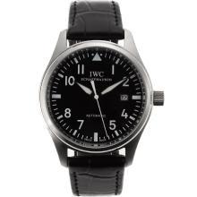Replique IWC Big Pilot Nombre Marqueurs automatiques avec cadran noir-bracelet en cuir - Belle Montre IWC Pilot pour vous 32256