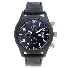 Replique IWC 3789 Pilot Top Gun travail Chronographe PVD affaire avec cadran noir-bracelet en cuir - Attractive IWC Montre d'Aviateur pour vous 32243