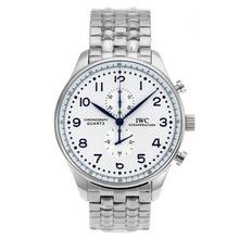 Replique IWC Portugaise Chronographe de travail marqueurs bleu avec cadran blanc S / S - Attractive IWC Portugaise montre pour vous 32193
