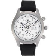 Replique Pilot IWC Top Gun travail Chronographe avec cadran blanc-bracelet en cuir - Attractive IWC Montre d'Aviateur pour vous 32184