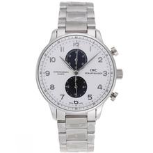 Replique IWC Portugaise marqueurs de travail Argent Chronographe avec cadran blanc S / S - Attractive IWC Portugaise montre pour vous 32175