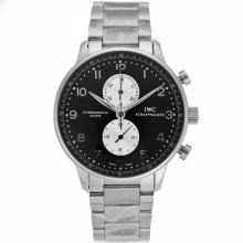 Replique IWC Portugaise marqueurs de travail d'argent chronographe avec cadran noir S / S - Attractive IWC Portugaise montre pour vous 32174