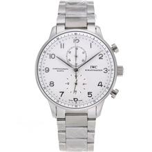 Replique IWC Portugaise marqueurs de travail Argent Chronographe avec cadran blanc S / S - Attractive IWC Portugaise montre pour vous 32173