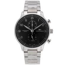 Replique IWC Portugaise marqueurs de travail d'argent chronographe avec cadran noir S / S - Attractive IWC Portugaise montre pour vous 32172