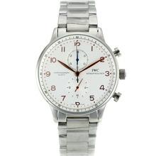 Replique IWC Portugaise Chronographe Rose Marqueurs de travail en or avec cadran blanc S / S - Attractive IWC Portugaise montre pour vous 32171