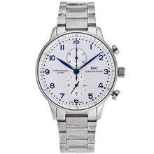 Replique IWC Portugaise Chronographe de travail marqueurs bleu avec cadran blanc S / S - Attractive IWC Portugaise montre pour vous 32170