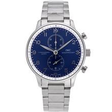 Replique IWC Portugaise marqueurs de travail Argent Chronographe avec cadran bleu S / S - Attractive IWC Portugaise montre pour vous 32169