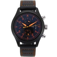 Replique IWC Top Gun pilotes automatiques Marqueurs PVD Orange avec cadran noir-bracelet en cuir - Belle Montre IWC Pilot pour vous 32164
