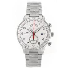 Replique IWC Portugaise marqueurs de travail Argent Chronographe avec cadran blanc S / S - Attractive IWC Portugaise montre pour vous 32143