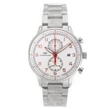 Replique IWC Portugaise Chronographe Rose Marqueurs de travail en or avec cadran blanc S / S - Attractive IWC Portugaise montre pour vous 32142