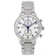Replique IWC Portugaise Chronographe de travail marqueurs bleu avec cadran blanc S / S - Attractive IWC Portugaise montre pour vous 32141