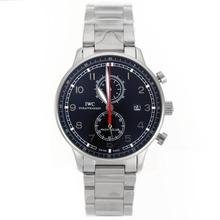 Replique IWC Portugaise marqueurs de travail d'argent chronographe avec cadran noir S / S - Attractive IWC Portugaise montre pour vous 32140