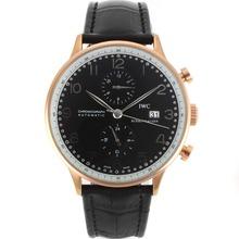 Replique IWC Portugaise Automatic en or rose avec cadran noir-bracelet en cuir - Attractive montre IWC Portugaise pour vous 32123