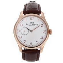 Replique IWC Portugaise Automatic or rose marqueurs Nombre de cas avec cadran blanc-bracelet en cuir - Belle Montre IWC Portugaise pour vous 32121
