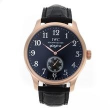Replique IWC Portugaise Automatic Rose Marqueurs Or Nombre de cas avec cadran noir-bracelet en cuir - Attractive montre IWC Portugaise pour vous 32115