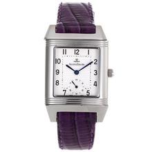 Replique Jaeger-Lecoultre Reverso cadran blanc avec bracelet en cuir violet - Attractive Jaeger-LeCoultre Reverso pour vous 33836