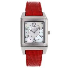 Replique Jaeger-Lecoultre Reverso MOP cadran avec bracelet en cuir rouge - Attractive Jaeger-Lecoultre Reverso Montre pour vous 33834