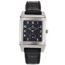 Replique Jaeger-Lecoultre Reverso cadran noir avec bracelet en cuir noir - Attractive Jaeger-LeCoultre Reverso pour vous 33829