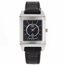 Replique Jaeger-Lecoultre Reverso cadran noir avec bracelet en cuir noir - Attractive Jaeger-LeCoultre Reverso pour vous 33828