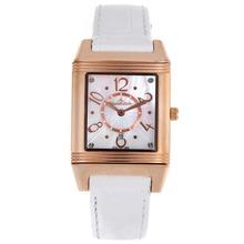 Replique Jaeger-Lecoultre Reverso or rose Cadran MOP cas avec bracelet en cuir blanc - Attractive Jaeger-LeCoultre Reverso pour vous 33820