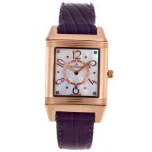 Replique Jaeger-Lecoultre Reverso or rose Cadran MOP cas avec bracelet en cuir violet - Attractive Jaeger-LeCoultre Reverso pour vous 33819