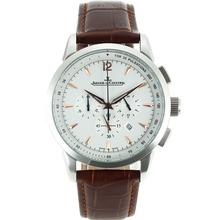 Replique Jaeger-Lecoultre Master Control travail Chronographe avec cadran blanc-bracelet en cuir - Attractive Jaeger-LeCoultre Master Control pour vous 33804