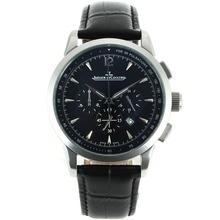 Replique Jaeger-Lecoultre Master Control travail Chronographe avec cadran noir-bracelet en cuir - Attractive Jaeger-LeCoultre Master Control pour vous 33802